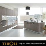 Walnuss-Furnier-Blattpantry-Küche mit Insel Tivo-0228h