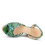 (Donna-in) sandali del cuneo dell'alto tallone del sughero delle donne del reticolo del serpente di modo