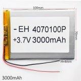 3.7V 3000mAh 4070100 de Navulbare Batterij van Li-Po van het Lithium van het Polymeer voor MP5 GPS PSP Dvd e--Boek Videospelletje van de Telefoon van PC van de Tablet het Mobiele