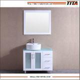 Vanité en verre T9140-24W de salle de bains de dessus de vanité de laque blanche