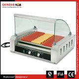 Máquina de la asación de la salchicha de la parrilla del perrito caliente de los productos de la alta calidad con la cubierta de cristal