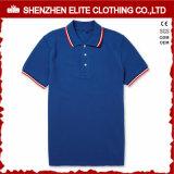 Los Mens respirables adelgazan la camisa de polo blanca apta con el collar rojo (ELTMPJ-262)