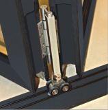 Doble corredera de aluminio plegable de cristal Puerta con marco anodizado plata