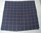 窓ガラスの小切手およびすり切らされた端が付いている編まれたアクリルの総括的なスカーフ