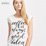 プリント白く短い袖の綿の女性のTシャツ