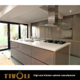 Weiße Acryl- und hölzernes Korn-Melamin-preiswerte Küche-Möbel (AP018)