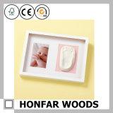 Marco de madera del bebé del marco de la foto del rectángulo blanco moderno