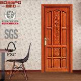 Artesão da folha do fornecedor de China porta de madeira interior do quarto do único (GSP2-010)