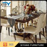 Móveis para sala de jantar Mesa de jantar de vidro com perna de metal dourado