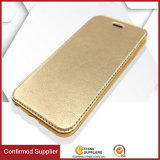 Cuero del teléfono móvil del tirón de la cubierta del borde de oro con el titular de la tarjeta carpeta para el iPhone 6 7 6s cubierta de la caja