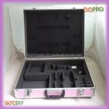 El estilo rosado de la maneta de la superficie del ABS que bloquea el aluminio lleva la caja (SATC017)