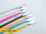 Kleurrijke Textiel Gevlechte Micro- USB Kabel voor Samsung en iPhone. Twee in Één Schakelaar van de Kabel USB