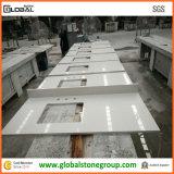 Tapas blancas artificiales de la vanidad del cuarzo para la compra del contratista/del hotel de los muebles