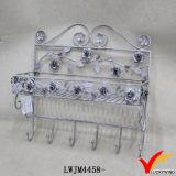 Estante gris retro rústico del metal del alambre de la solución del almacenaje del colgante de pared