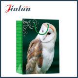 Saco de papel laminado lustroso do presente da mão da compra da coruja do papel Ivory