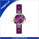 Schöner Vorwahlknopf-Mehrfarbenfrauen-Leder-Uhr