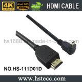 Tipo D HDMI do ângulo direito da alta qualidade micro ao cabo de HDMI para a venda