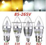 E27 3W avec la lumière en aluminium de bougie de DEL