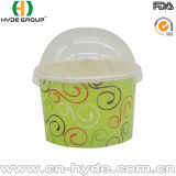 100ml Dipsosable hielo taza de papel crema con tapa y cuchara