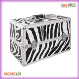 Large Volume (SACMC129)를 가진 줄무늬 ABS Cosmetic Case Aluminum Nail Beauty Case