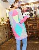 Pullover allentato dei reticoli di Macaron di colore geometrico di scontro (BTQ082)