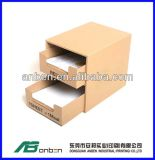 Rectángulo de regalo cúbico de la joyería del papel de Kraft con dos capas del cajón