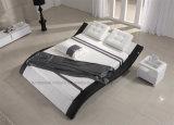 A021寝室のLEDライトが付いている白いLeaterのベッド