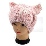 手のニット邪悪な猫耳の帽子、手のニット動物の帽子