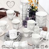 tazza di ceramica accatastabile 10oz con il disegno della decalcomania del biglietto di S. Valentino