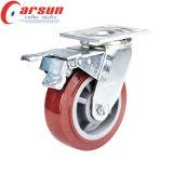100 mm Heavy Duty giratorio de la PU de la rueda de ricino (con freno lado metálico)