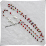 Пластичный Rosary с шкентелем распятия, Rosary шарика смолаы, крест Rosary (IO-cr229)