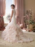 0088 가벼운 Champagne 레이스 Tulle는 인어 모자 소매 투명한 뒤 결혼 예복을 물결이 일게한다