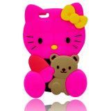 teléfono celular de la historieta de la caja del silicón del gato del gatito 3D Accessoriese para el iPhone 6s 6pllus (XSK-006)