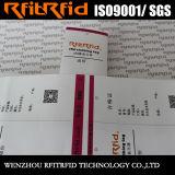 Etiqueta del papel brillante RFID de la etiqueta de la impresión en color RFID de la frecuencia ultraelevada para el paño