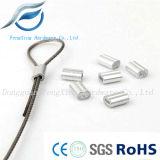 Double clip en aluminium de fil d'acier de trou, collier de câble