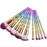 Conjunto de 2017 del arco iris 10PCS del unicornio cepillos profesional del maquillaje
