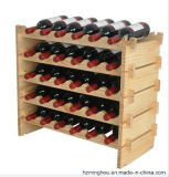 Rústico de madera sólida apilable Wine Rack para el vino Display Rack