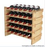 Деревенский шкаф вина твердой древесины Stackable для стеллажа для выставки товаров вина