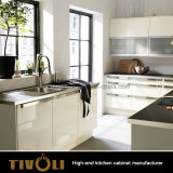 ドイツ現代台所デザインマットの木の上の島(AP030)が付いている黒い台所家具