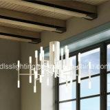 Ferro artístico Post-Modern da faculdade criadora e candelabro de suspensão de vidro do diodo emissor de luz
