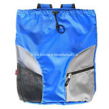 Saco de nylon azul impermeável da trouxa de Gymsack da natação do Drawstring