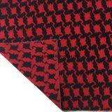 Negro y Rojo Jacquard Swallow Gird lana de tela Stock