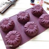 Moulage de gâteau de silicones de nourriture de six tournesols avec 29.8*17.4*4cm