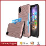 1에서 iPhone 8 TPU PC 2를 위한 순수한 길쌈 가죽의 털이 있는 쪽 슬롯 카드 셀룰라 전화 상자