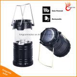 Het Kamperen 6 LEIDENE van de van uitstekende kwaliteit Lamp van de Hand de Navulbare Opvouwbare ZonneLichten van de Tent van de Lantaarn voor OpenluchtVerlichting