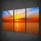 沿岸景色のキャンバスプリントか浜の日没の芸術の装飾の壁または海洋波の油絵プリント