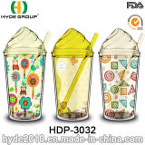Оптовые BPA освобождают кружку мороженного, Tumbler сока двойной стены пластичный с сторновкой (HDP-3032)