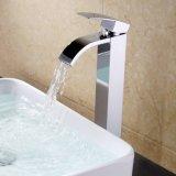 Furo do punho um do Faucet do dissipador da embarcação da cachoeira do Faucet do dissipador do banheiro único para do estilo contemporâneo de bronze do quadrado do hotel do lavabos cromo Polished