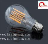 Luz de bulbo del filamento de E27 7W LED, hecha en fábrica