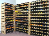 Mensole di visualizzazione accatastabili del vino della cremagliera della bottiglia di memoria di legno solido